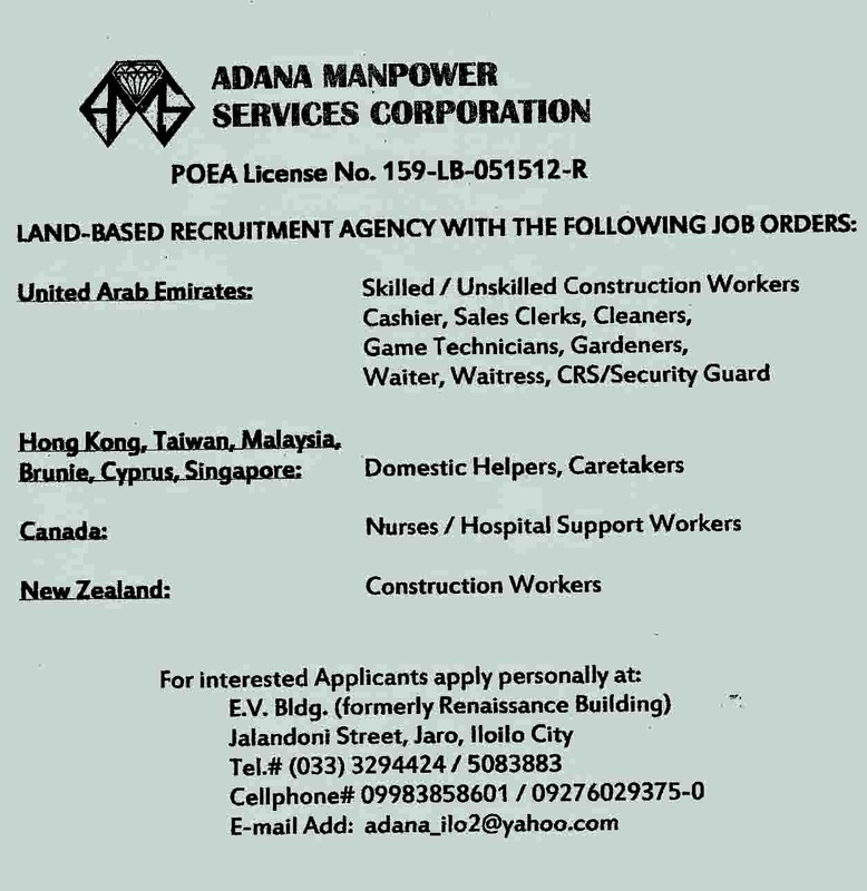 Adana Manpower Services Corp  - Jobs Hiring in Iloilo and Abroad